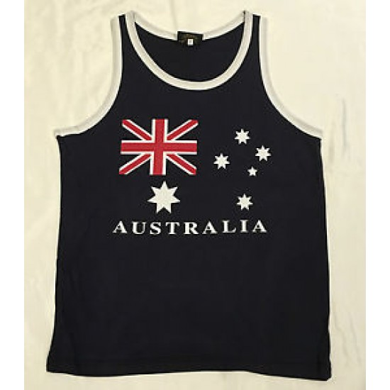 AUSTRALIA DAY MENS YELLOW /NAVY SINGLET