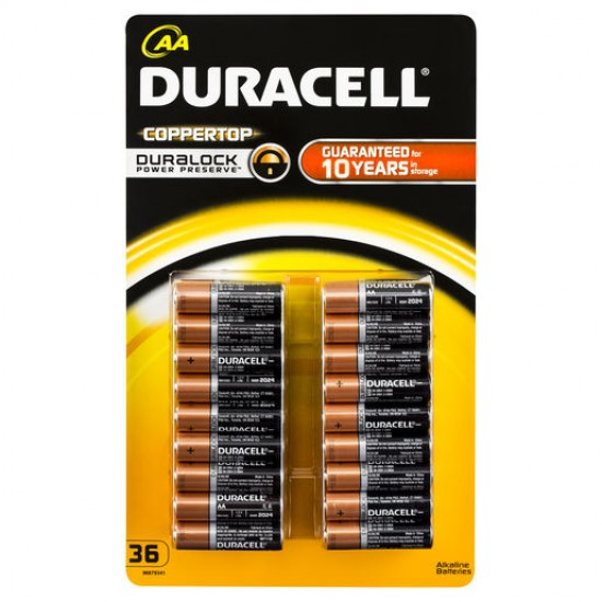 Duracell Coppertop Batteries AA 36 pack