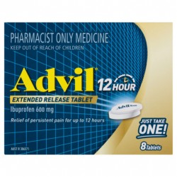 Advil 12 Hour Extended Release Tablets Ibuprofen 600mg 8 Tablets