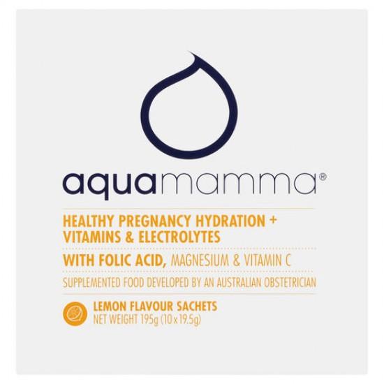 Aquamamma Healthy Pregnancy Hydration + Vitamins & Electrolytes Lemon Sachets 10 x 19.5g