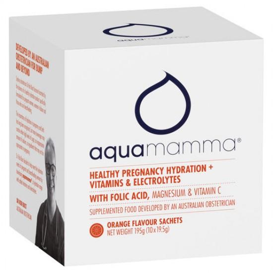 Aquamamma Healthy Pregnancy Hydration + Vitamins & Electrolytes Orange Sachets 10 x 19.5g